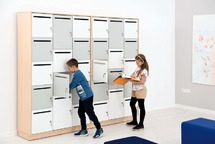 Kast - hout - locker - 14 lockers corpus wit