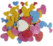 Foam - stickers - glitter hartjes 200ass